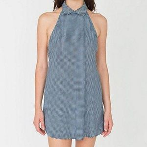 American apparel gingham collar dress halter back